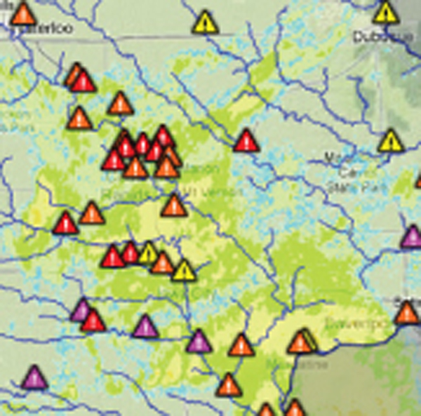 An Iowa Flood Information System map showing many flood alerts