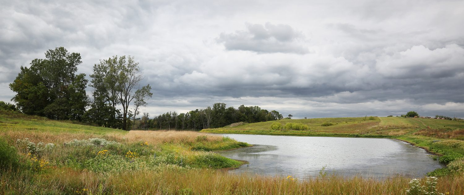A Soap Creek watershed farm pond under a cloudy sky