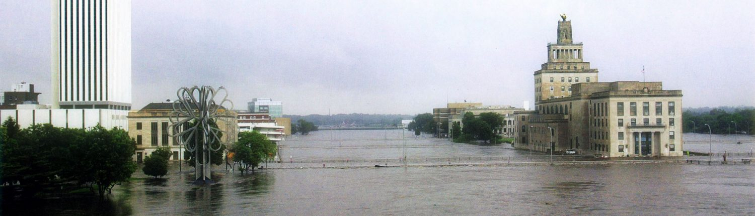 A view of May's Island and downtown Cedar Rapids during the flood of 2008.