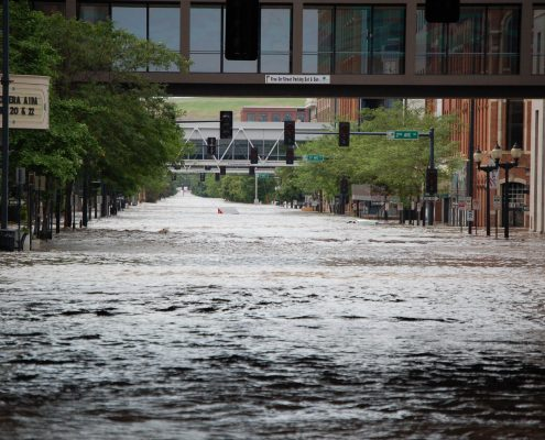 A photo of downtown Cedar Rapids underwater during the 2008 flood.