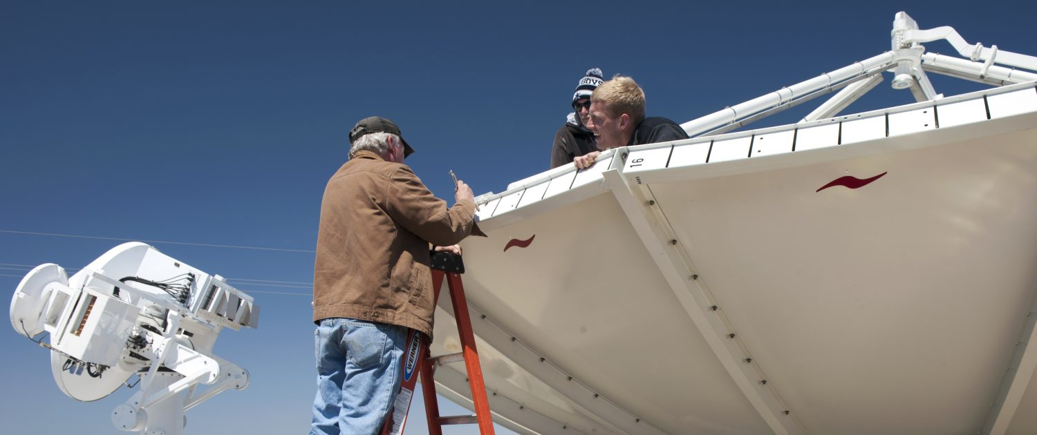 IFC students assist in the deployment and set-up of a large NASA NPOL radar.