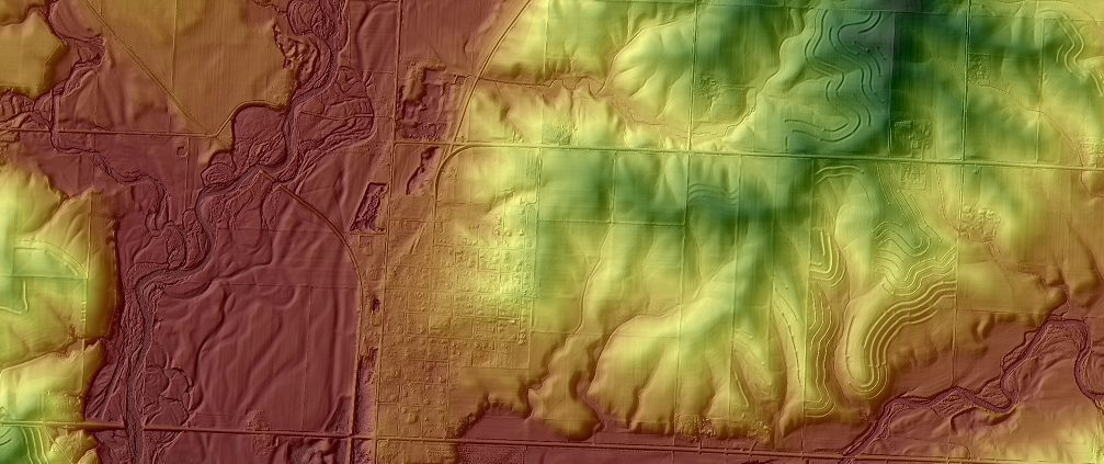 LiDAR image of an Iowa landscape
