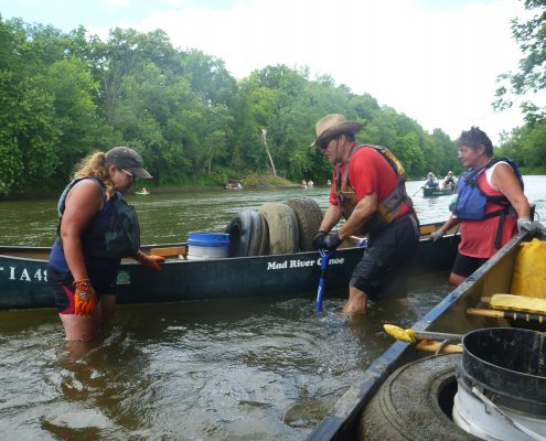IFC volunteers help clear trash from the Upper Cedar River.