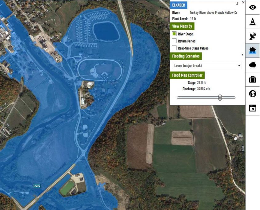 IFIS flood inundation map for Elkader
