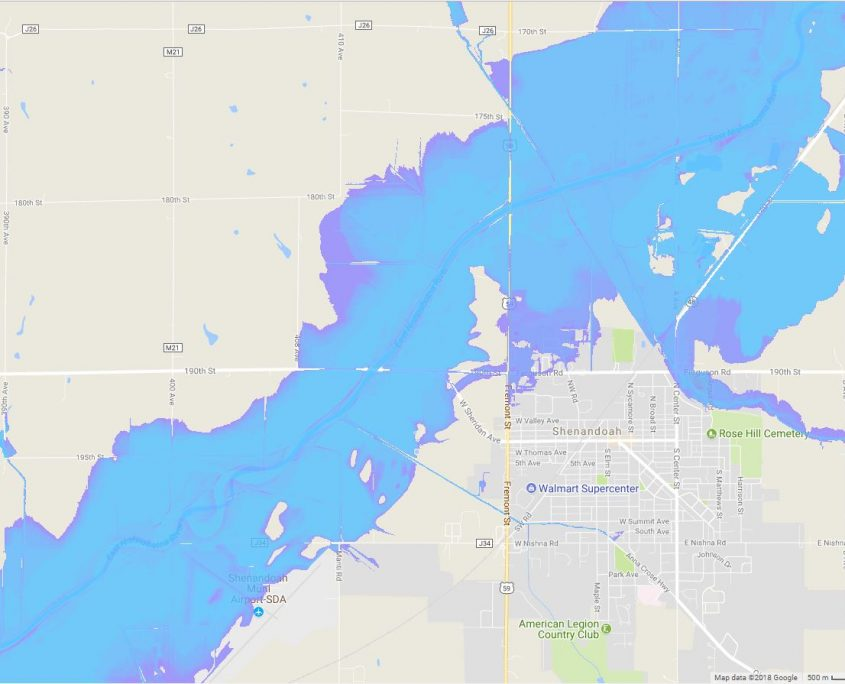 A screen shot of an IFC flood inundation map of Shenandoah.