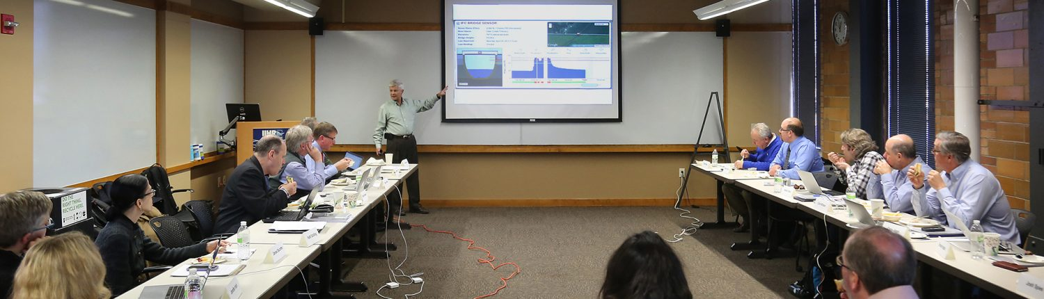 IFC Director Witold Krajewski talks about the Iowa Flood Information System to a group of fellow researchers