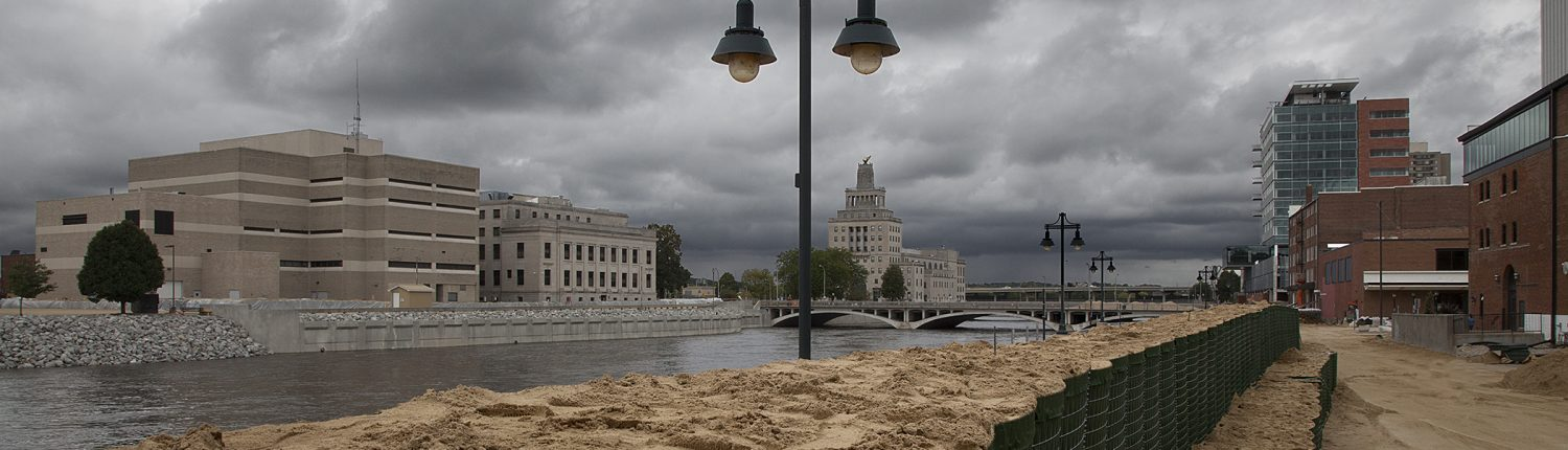 HESCO barriers protect downtown Cedar Rapids from Cedar River flooding in 2016.