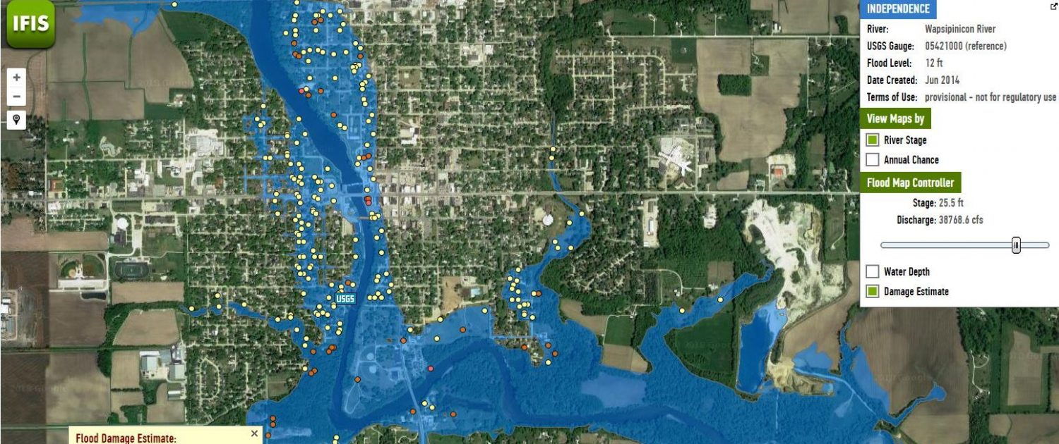 IFC flood inundation map for an Iowa community showing Hazus data.