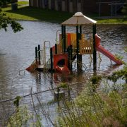 Flooded children's playground.