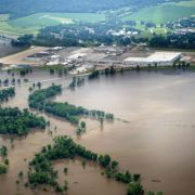 Aerial view of flooding in Iowa.