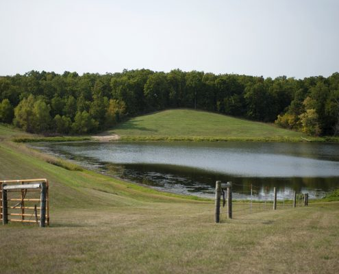 Soap Creek watershed farm pond for flood mitigation.