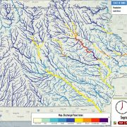 Iowa Flood Center map illustrating floodwater movement through the watershed.