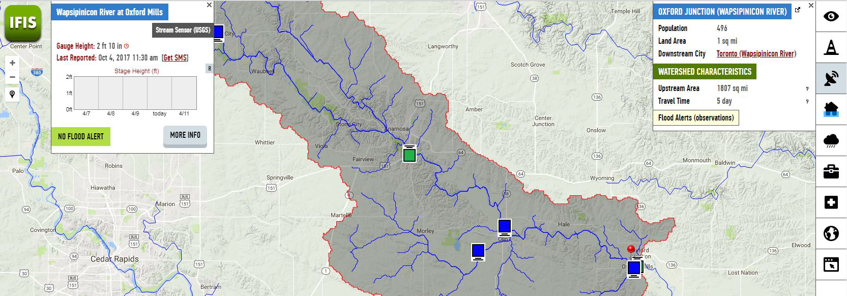 Screen shot of IFIS map showing the Wapsipinicon River watershed.