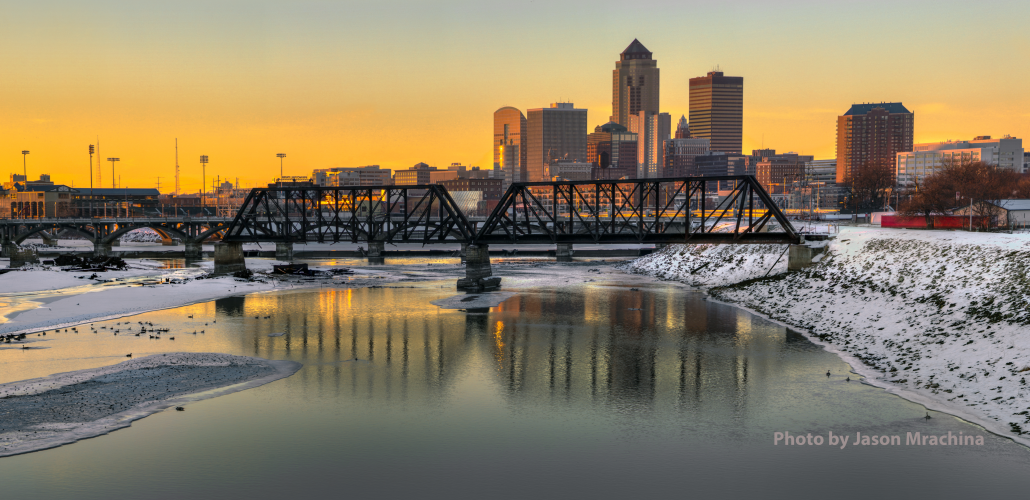 View of downtown Des Moines skyline at sunset. Photo by Jason Mrachina.