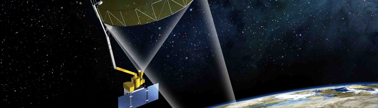 Illustration of NASA's SMAP satellite in space.