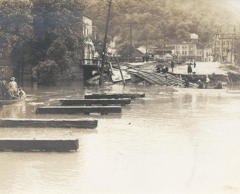 A sepia toned image of a flood