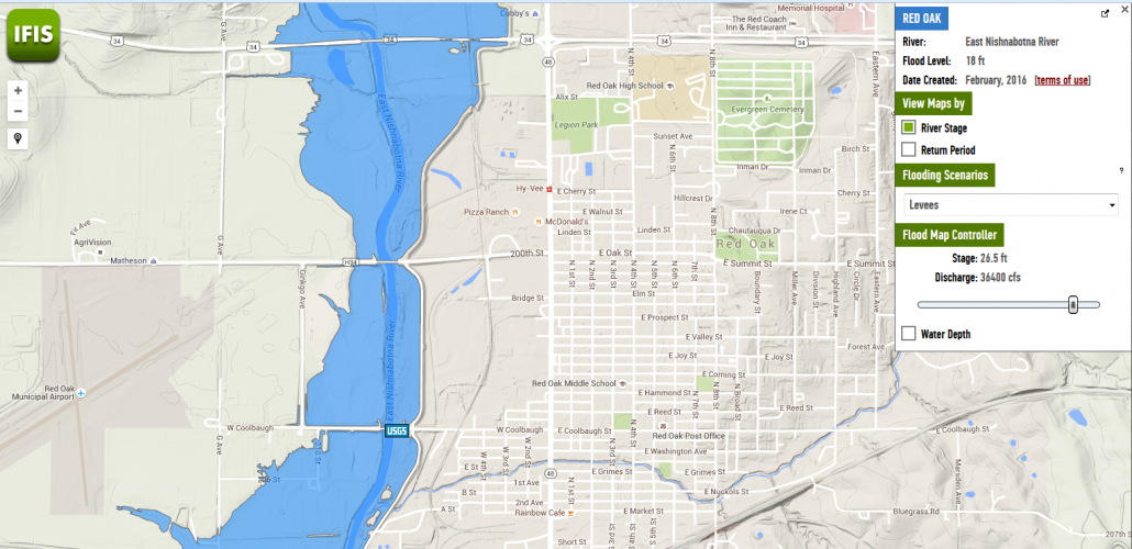IFIS flood inundation map of Red Oak, Iowa