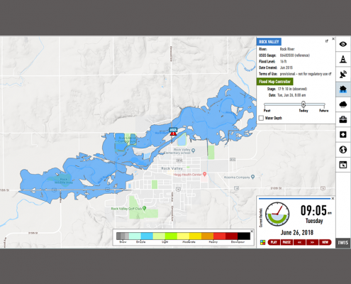 A map showing flood levels in Rock Valley, Iowa.