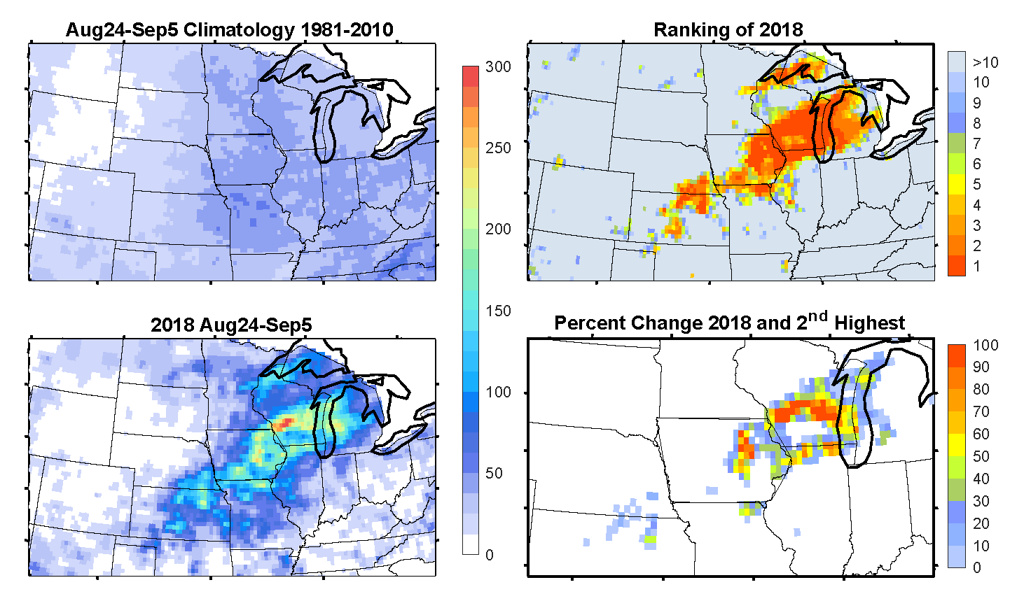 Four maps of the upper Midwest showing recent rainfall using colors from blue to red.