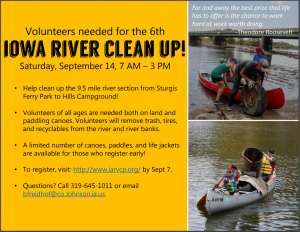 River clean up poster (with photos of people cleaning up)