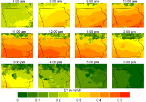 Evapotranspiration maps throughout the day