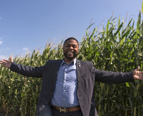 North Carolina Mayor stands in a corn field