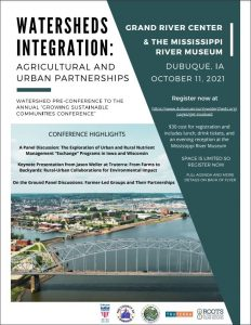 A poster detailing the time and place for the Watersheds Integration conference. It links to more information.
