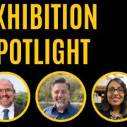 A graphic including the three speakers at the exhibition spotlight
